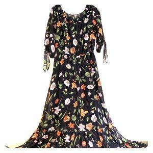 Boho style Floral, sheer, full length dress.